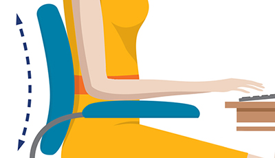 In this illustration of a woman, her chair is flush with her back.