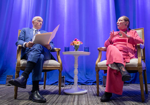 Frank Iacobucci speaks with Rosalie Abella on stage at the Jackman Law building Justice Abella speaks on stage with former Supreme Court justice Frank Iacobucci.