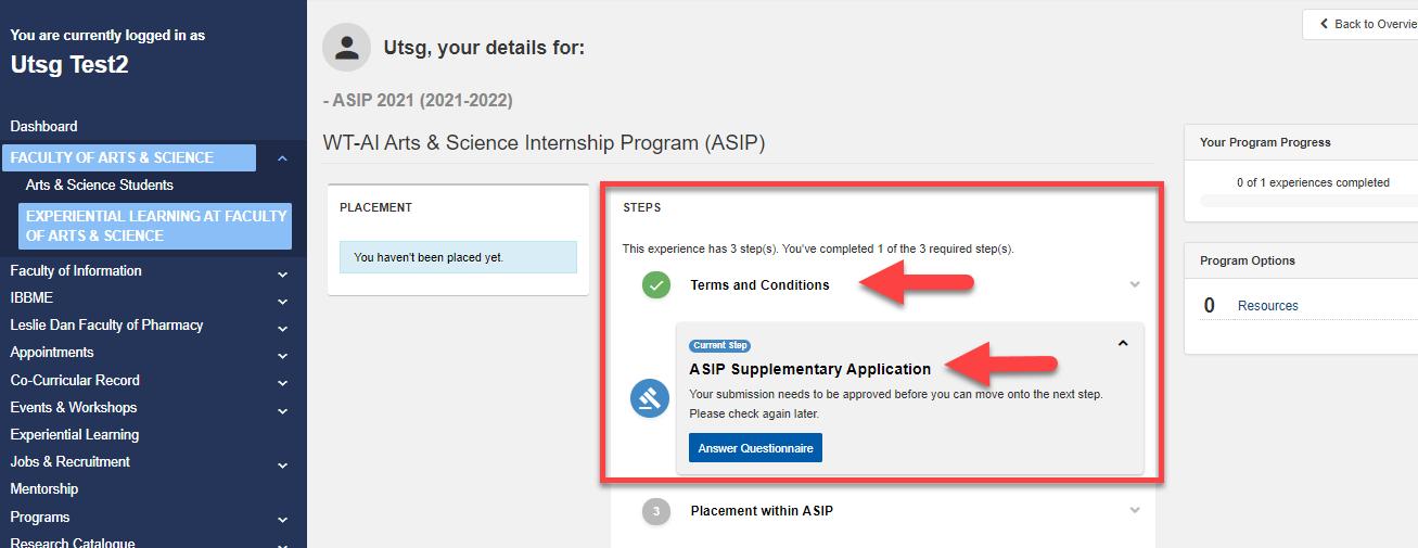 Screenshot of ASIP application Step 4 in CLNx