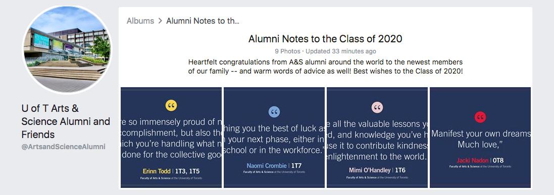 A&S Alumni Advices for 2020 grads Facebook album