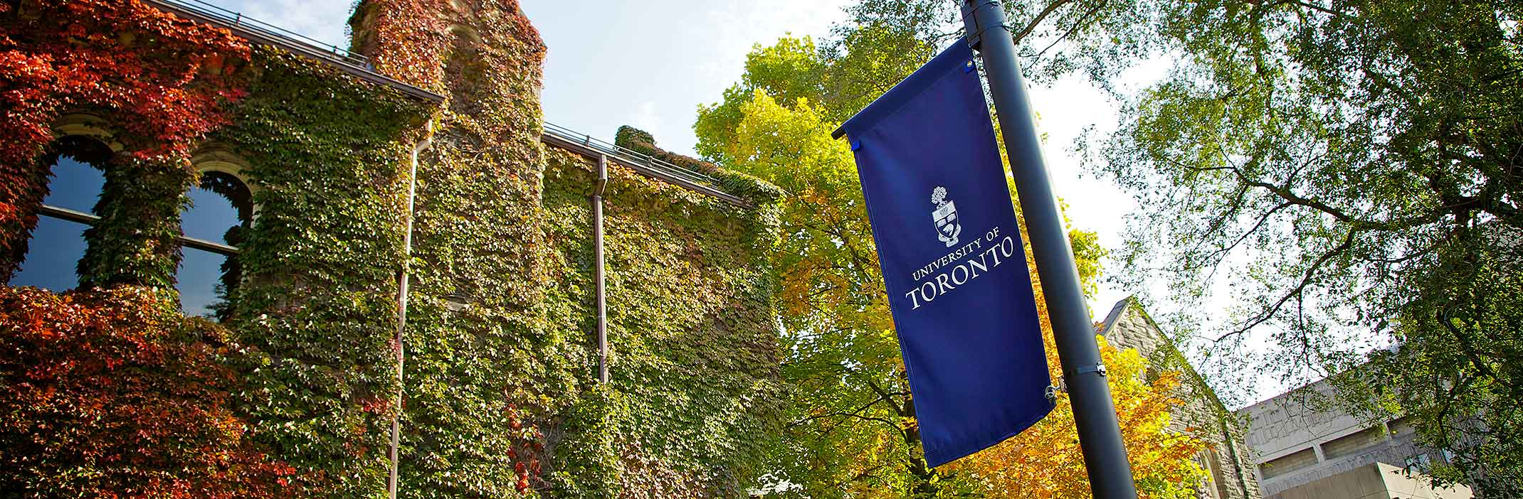 An blue U of T banner outside with trees in the background.