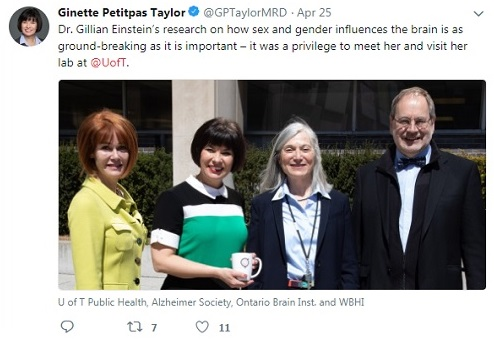 A tweet from Ginette Petitpas Taylor praises her visit with Dr. Gillian Einstein.
