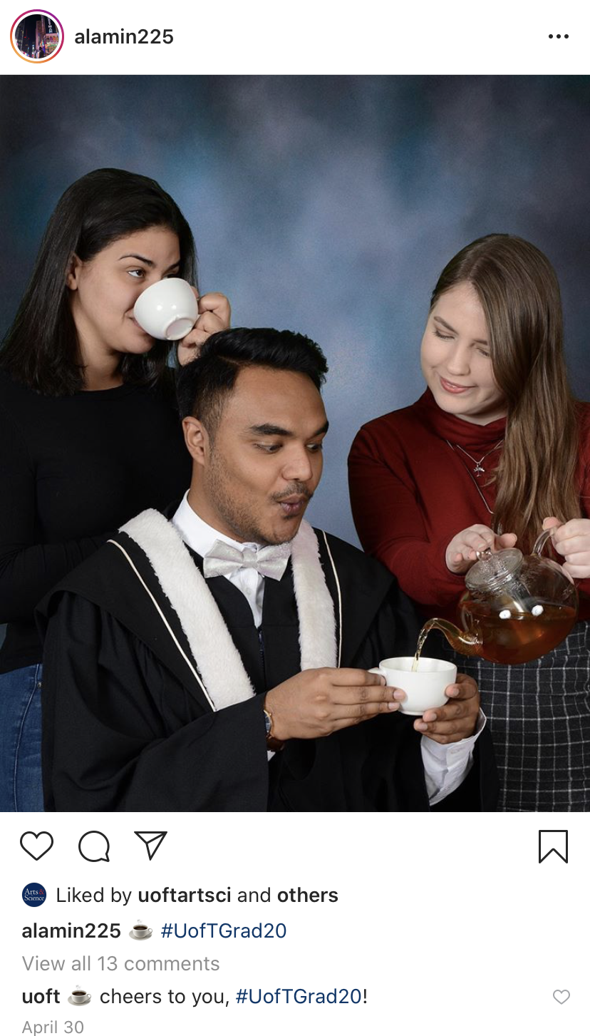 students celebrate convocation on his personal instagram account