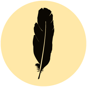 A feather illustration with a yellow background.
