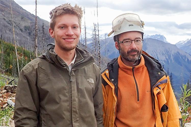 PhD student Joe Moysiuk (left) and Associate Professor Jean-Bernard Caron working at the Burgess Shale in Kootenay National Park