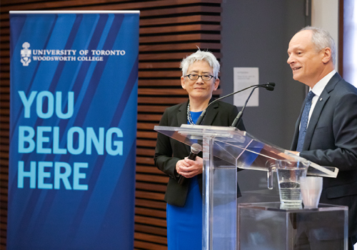 Carol Chin with Meric Gertler at the podium during her installation.