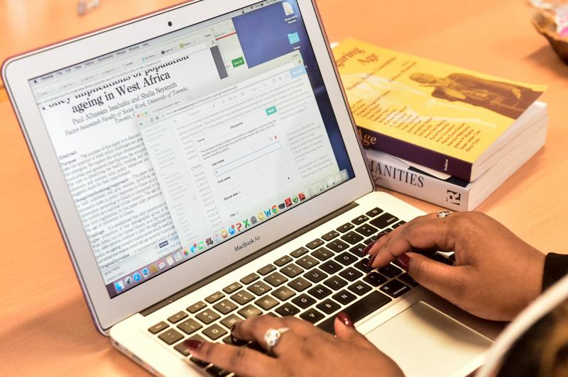 laptop screen of a class