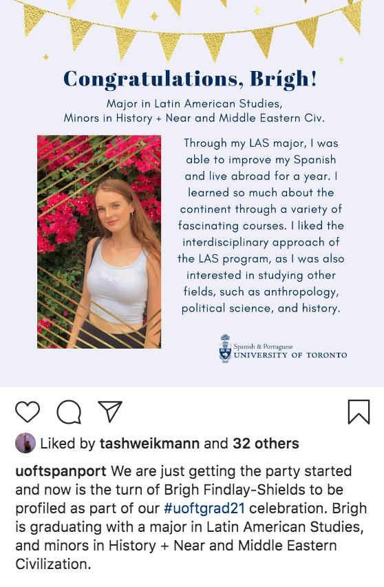 Uoftspanport posted on their instagram their highlight graduate profiles - Brigh Findlay-Shields