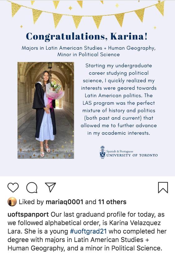 uoftspanport posted on their instagram their highlight graduate profiles - Karina Velazquez Lara
