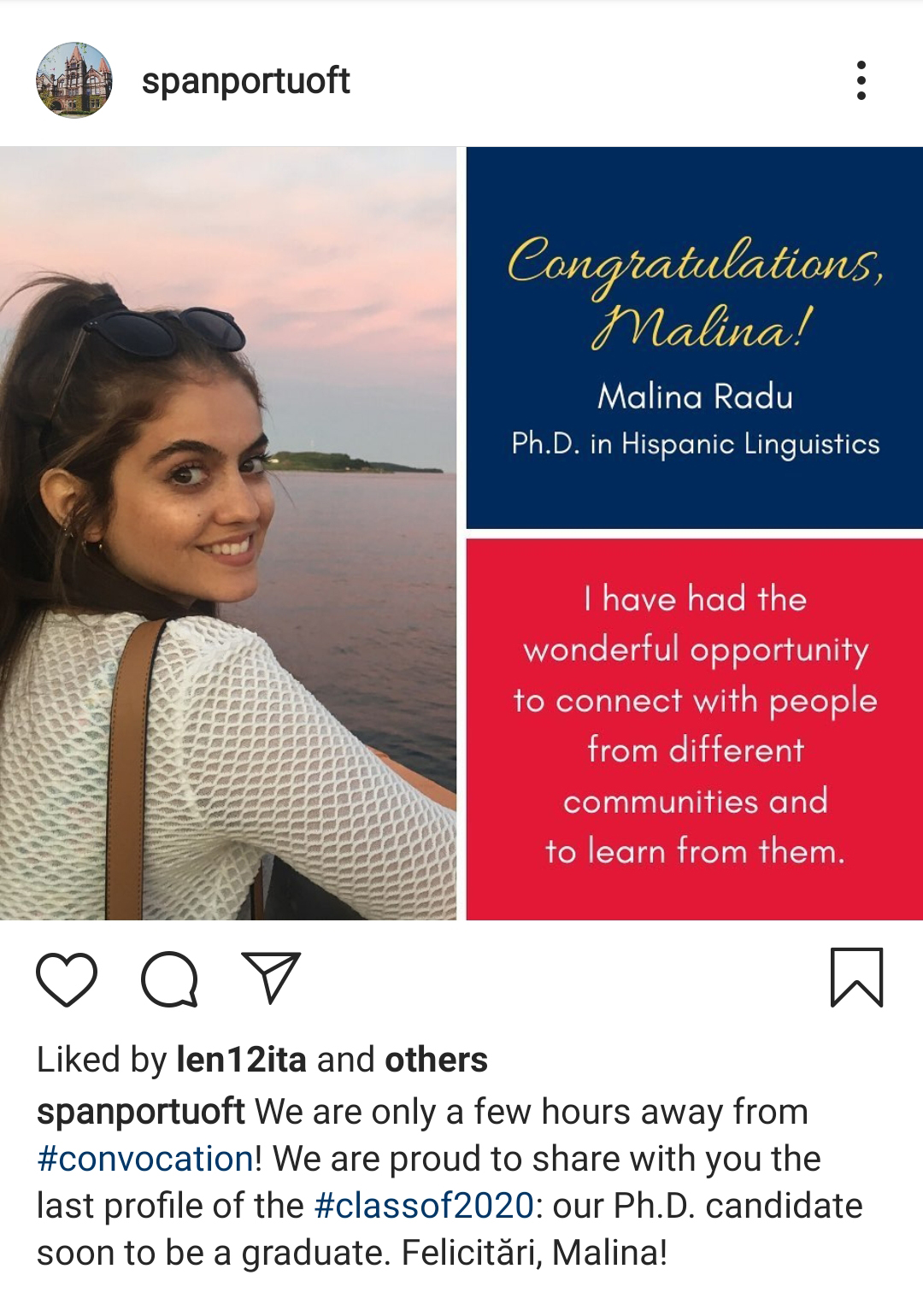 graduate profile of Malina Radu, a student from Spanish and Portugese department instagram account