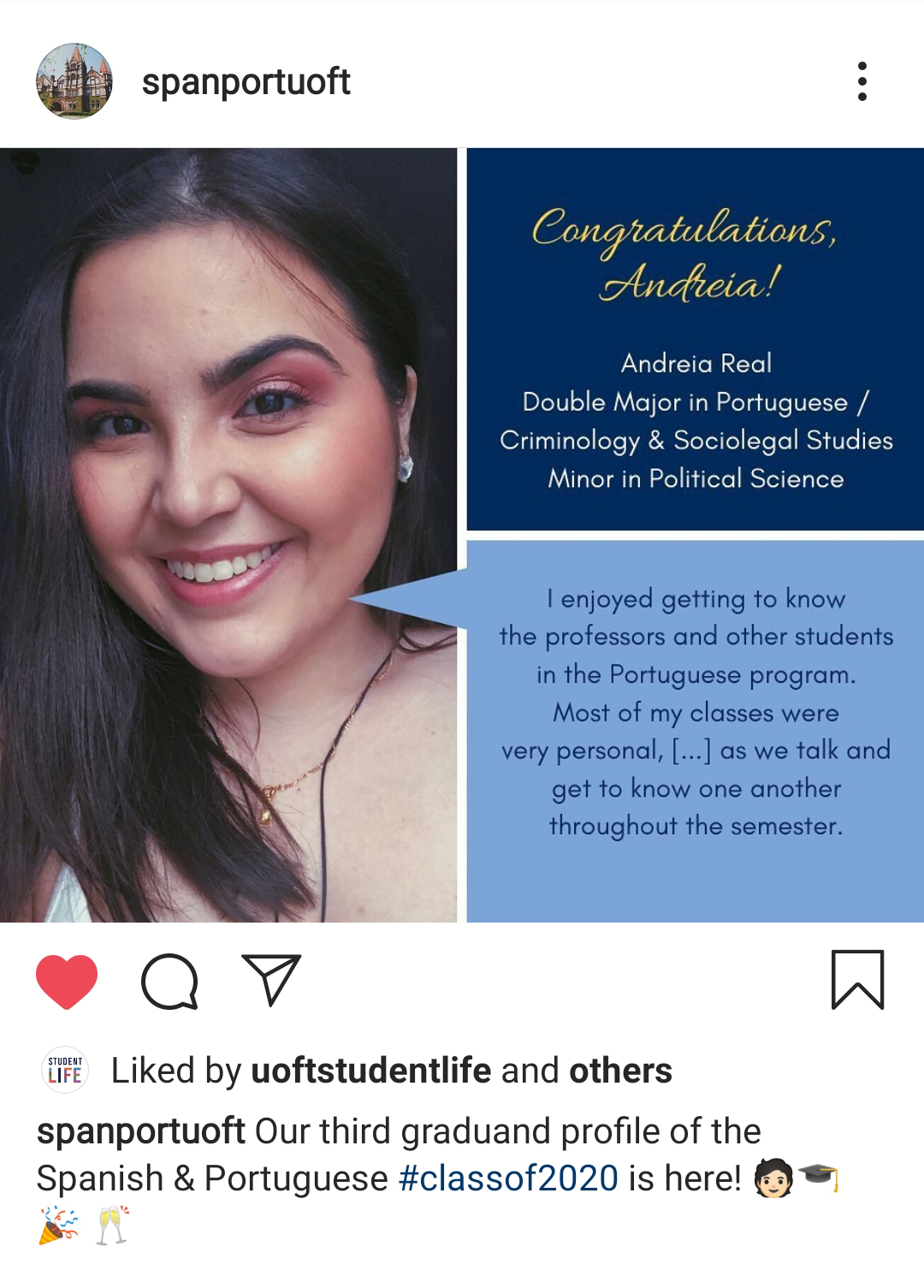 graduate profile of Andreia, a student from Spanish and Portugese department instagram account