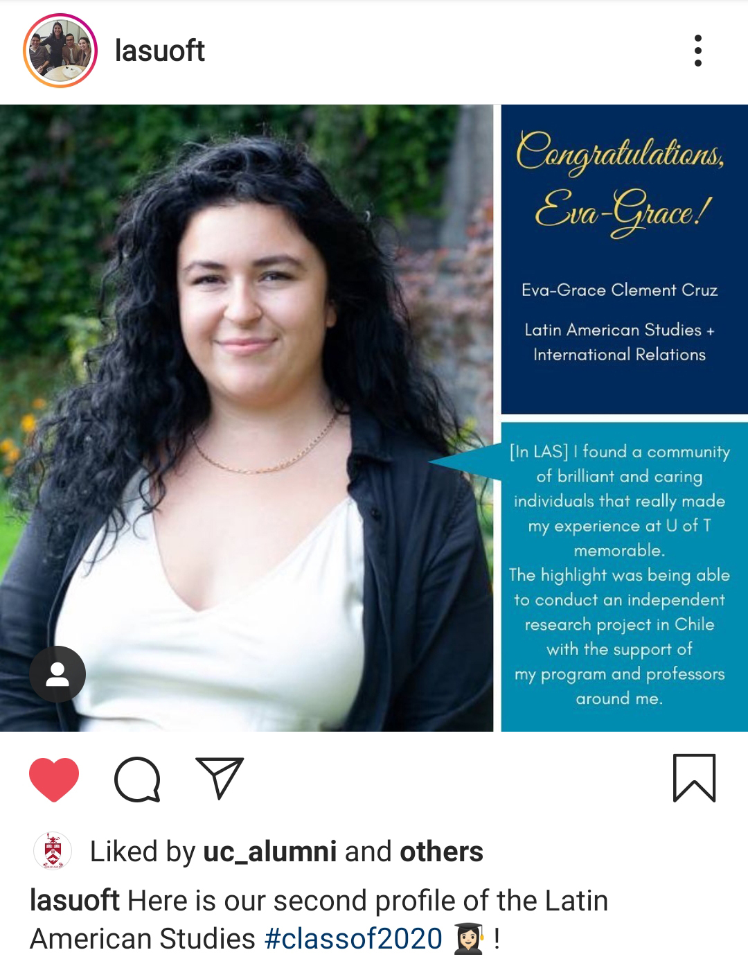 graduate profile of Eva Grace, a student from Latin America department instagram account