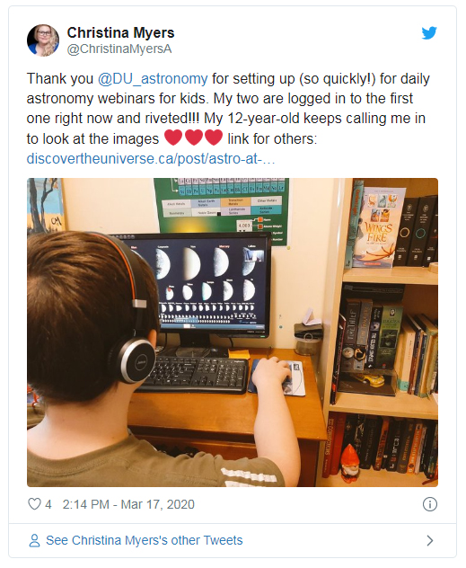 View a tweet from a parent whose kids participated in the Astro at Home program