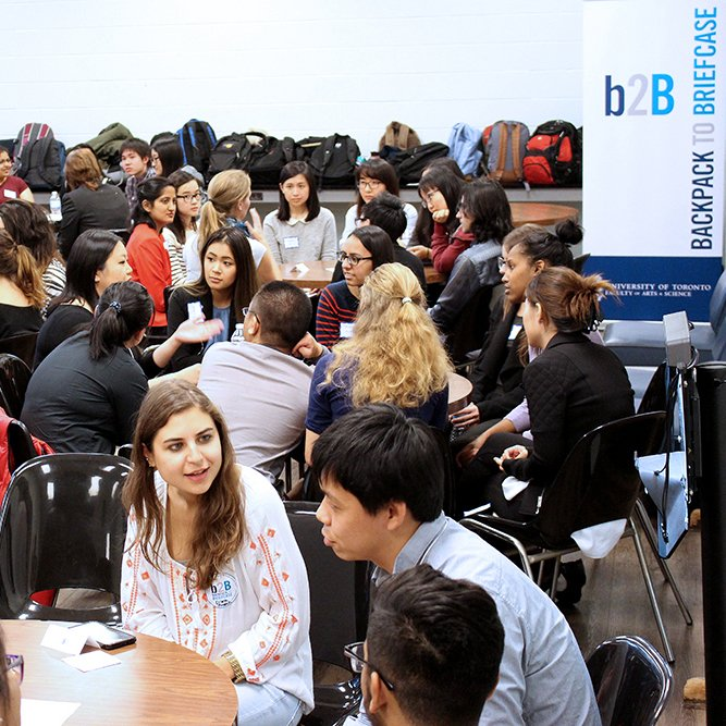 students in a networking event