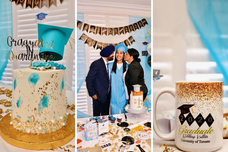Dildeep Kullar poses with her parents alongside teal and gold decorations, plus a mug and cake