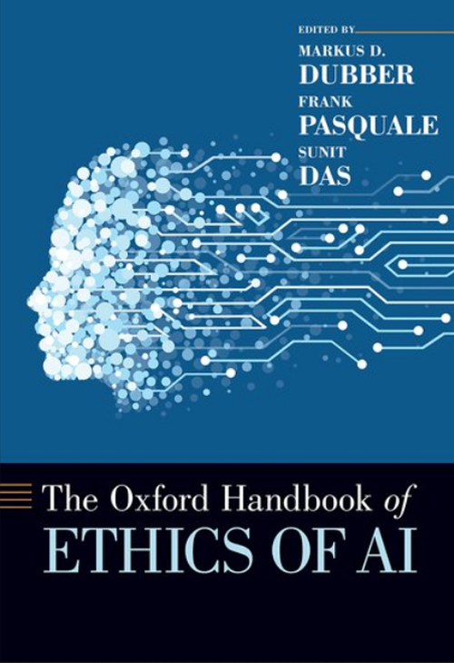 The blue book cover of Ethics of AI, with a face icon made our of circles.