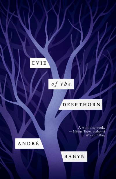 A two tone purple tree, the cover of the book evie of the deepthorn.