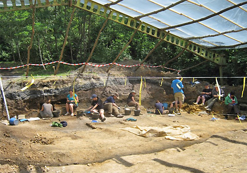 Team at the excavation site in Hungary.