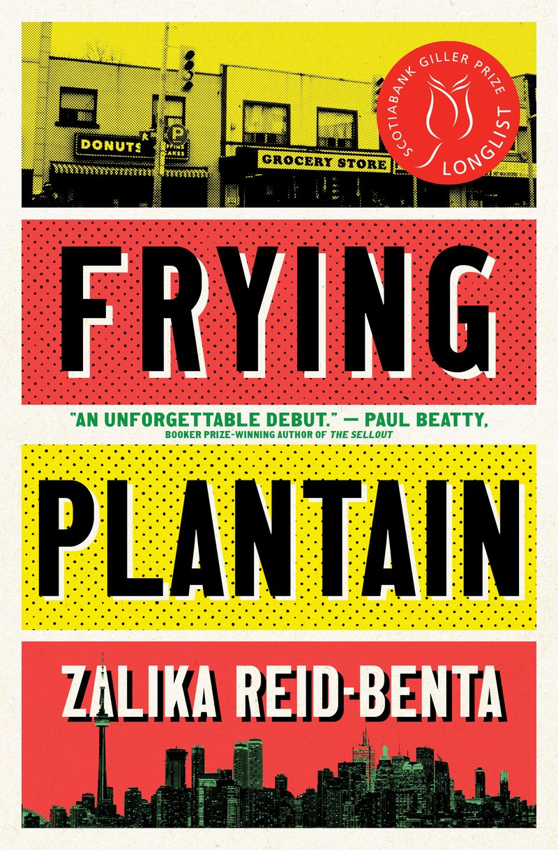 The cover of alumna Zalika Reid-Benta's book, Frying Plantain, features bold red and yellow graphics, a picture of storefronts, and the Toronto skyline