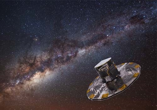 a rendering of the spacecraft floating in a starry spacy sky