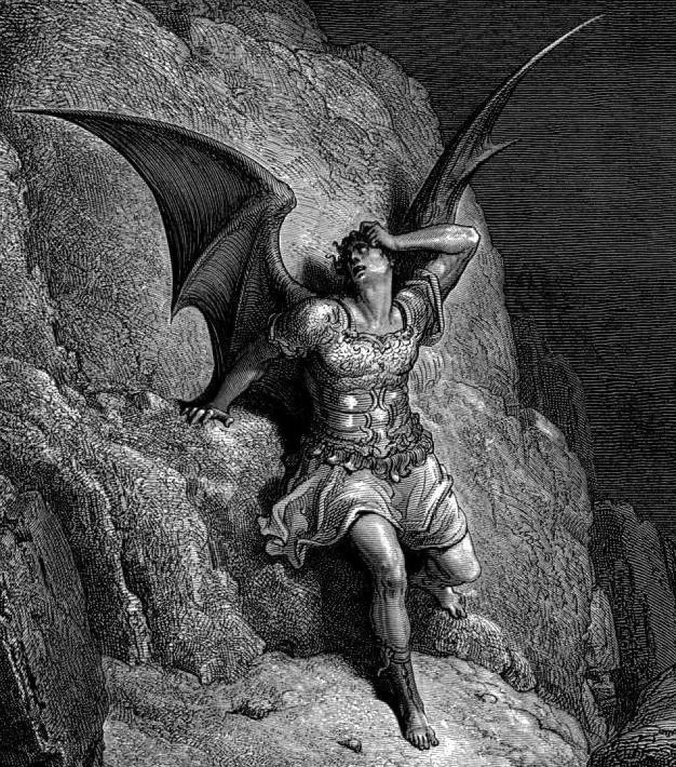 A black and white illustration of a person with the wings of a bat.