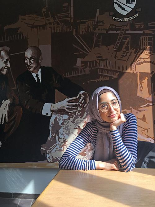 Heba Qazibash inside Wetmore Hall.