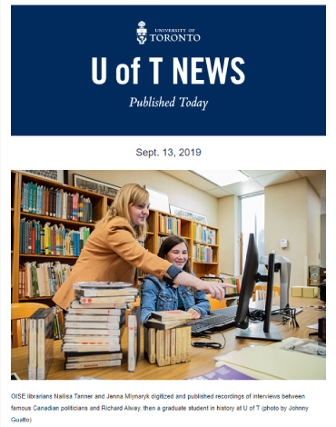 A cover of e-news - U of T, in the news.