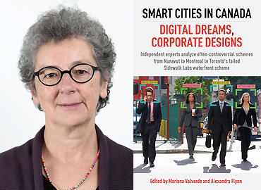 Marianna Valverde and the cover of her book: Smart Cities: Digital Dreams, Corporate Designs.