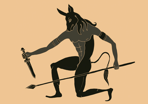 A beige background with a black stencil of a minotaur, a bull like creature with human legs.