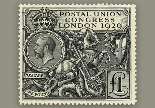 A stamp with an illustration of a horse, shield and photo of a person.