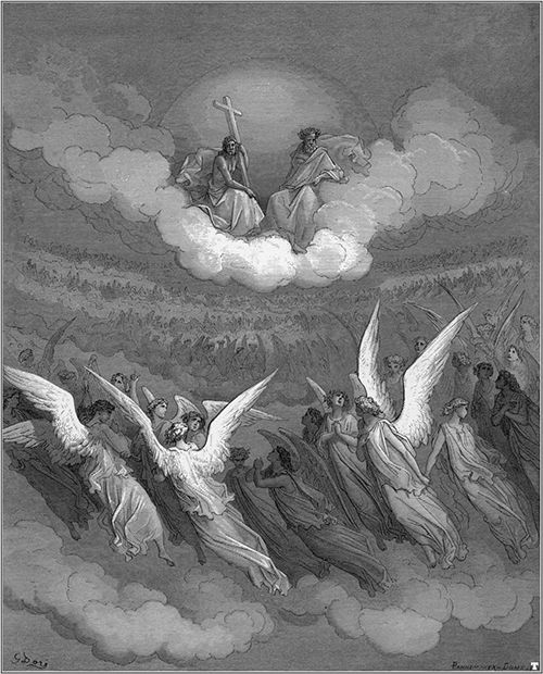 The Heavenly Hosts, c. 1866, illustration to Paradise Lost.