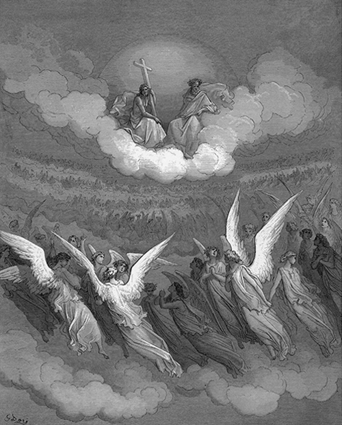 A black and white illustration of angels and two people in a cloud, one holding a cross.