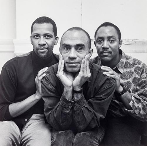 Black and white portrait of Pomo Afro Homos.