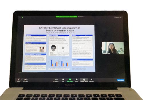 Sabrina Chan's face on a laptop