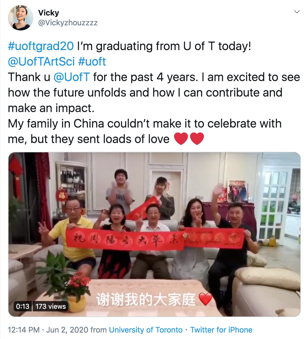 Vicky twitter post of the video her family made to celebrate virtually on her convocation day
