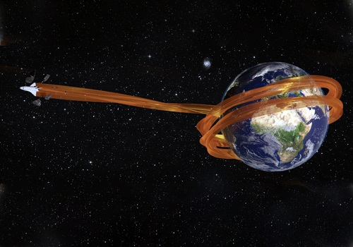 graphic of space shuttle swooping around earth and jetting into space