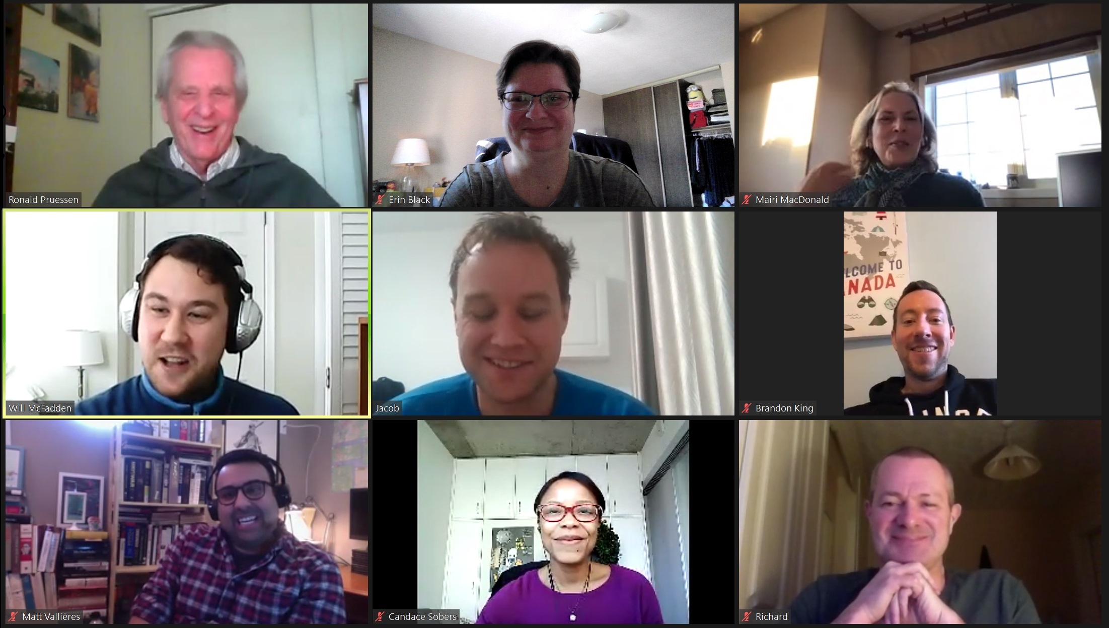 screengrab of online Zoom chat with Ronald W. Pruessen and 8 other people
