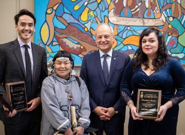 Tyee Fellows, Inuk Knowledge Keeper Naulaq LeDrew, U of T President Meric Gertler and Andrea Johns.