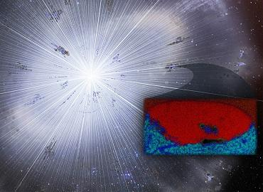 Researchers found a grain of stardust (inset image) that survived the formation of our solar system. The carbon-rich graphite grain (red) revealed an embedded speck (blue) of oxygen-rich material.