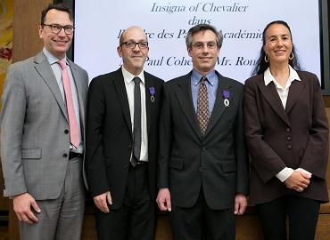 From left: Consul General of France, Mark Trouyet, associate professors Ron Levi and Paul Cohen and Brigitte Proucelle, cultural, education and sciences adviser at the French Consulate