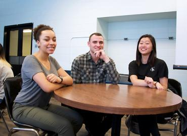 Undergraduate student Cole Brookson with Brianna Lane (left) and Anna Meng (right), who he mentored through the EEB Peer Mentorship Program, a new initiative that connects second-year students with a third-, fourth- or fifth-year student to provide guidan