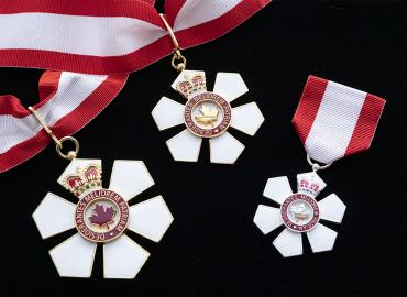 Medals on black felt.