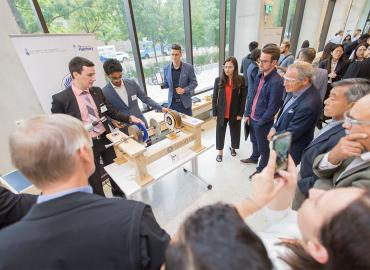 The team from Aeroflux took home first prize for their wear-free aircraft braking system at the Entrepreneurship Hatchery's 2019 Demo Day competition.