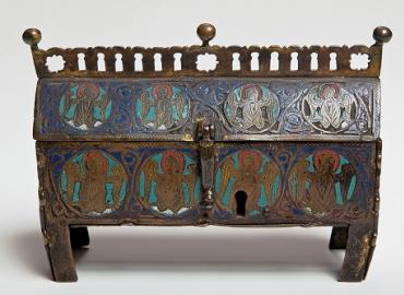 A chasse/reliquary made of enamel on bronze from 13th century France
