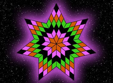 A purple and green pointed star like shape with a space backdrop.