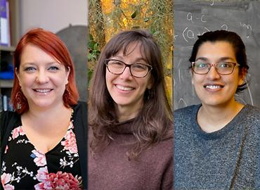 headshots of three Sloan researchers including Renée Hložek, Chelsea Rochman and Ila Varma.