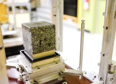 Rocks in a lab pressure device