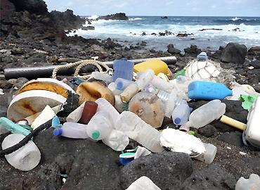 Piles of plastic garbage on the rocky Ascension Island beach