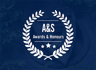 A logo with the works A&S Awards & Honours in blue and white.