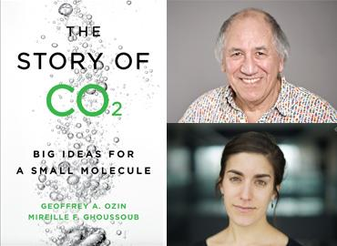 "The cover of the book, The Story of CO2, ""Big Ideas for a Small Molecule and profile images of the two authors."